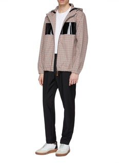 Helmut Lang Hooded coated panel check plaid jacket