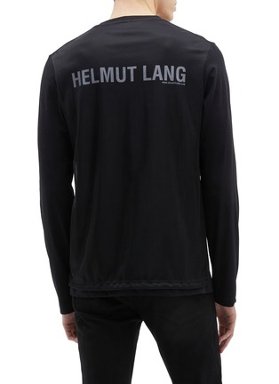 Back View - Click To Enlarge - HELMUT LANG - 'Overlay' logo print layered back long sleeve T-shirt