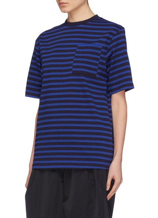 Front View - Click To Enlarge - Anna Beam - Patch pocket stripe unisex T-shirt