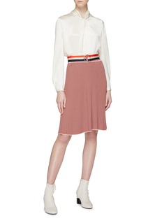 VICTORIA, VICTORIA BECKHAM Belted pleated stripe knit skirt