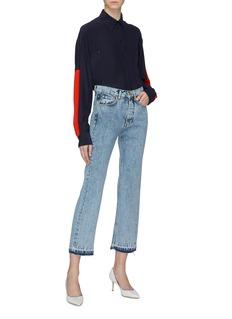 VICTORIA, VICTORIA BECKHAM 'Super High Cali' let-out cuff bleached jeans