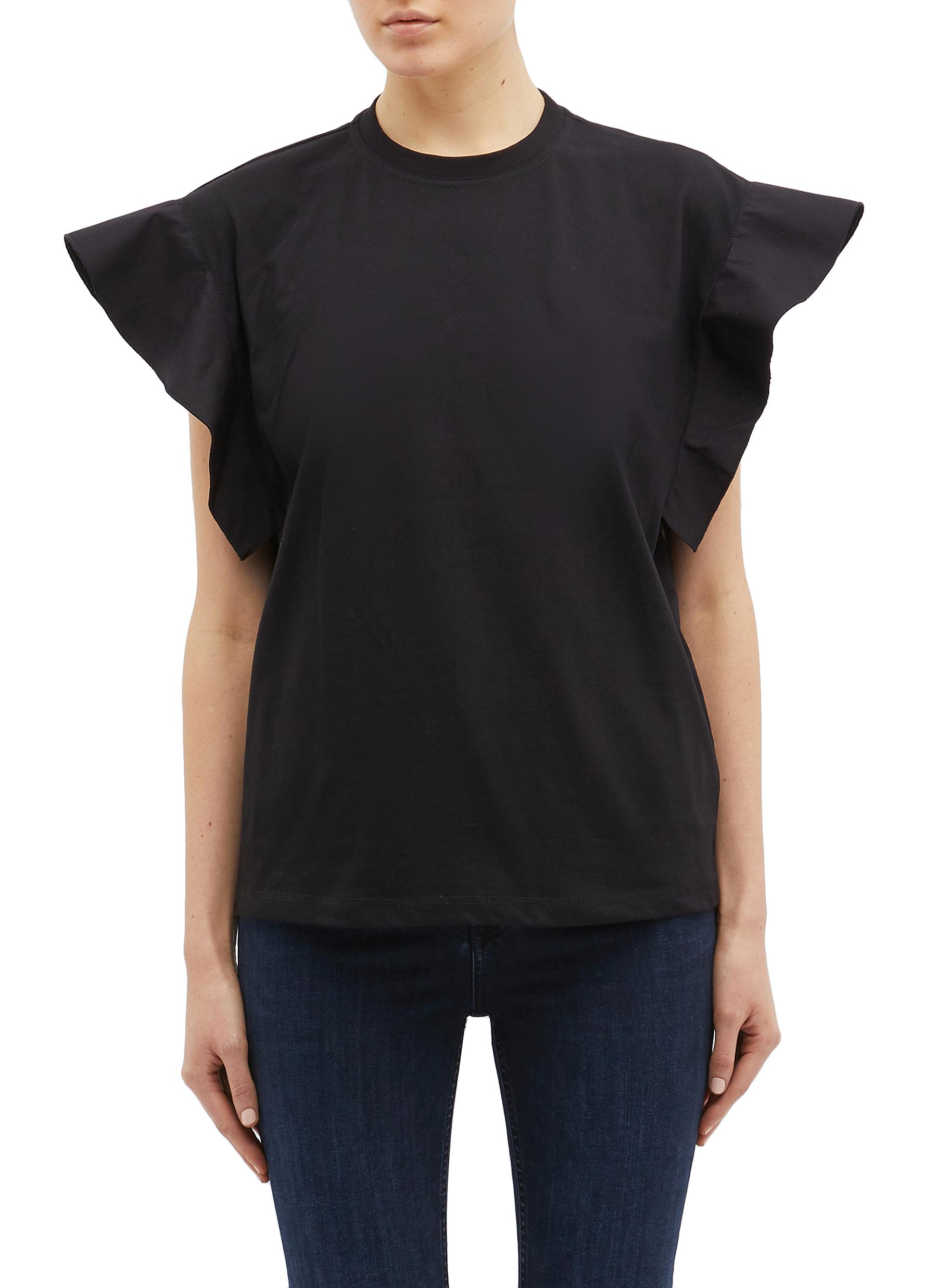 Ruffle fluted sleeves T-shirt by Victoria, Victoria Beckham