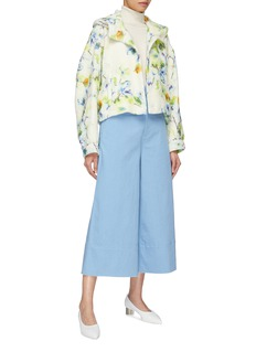 Ms MIN Hooded floral print alpaca-silk oversized jacket
