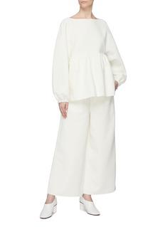 Ms MIN Puff sleeve cotton-silk peplum top