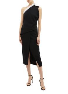 Bianca Spender 'Athena' belted one-shoulder crepe wrap dress