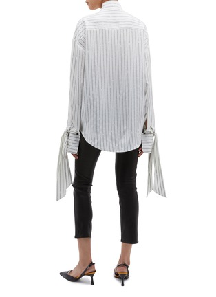 Back View - Click To Enlarge - PETAR PETROV - 'Beth' tie drape cuff slogan stripe silk blouse