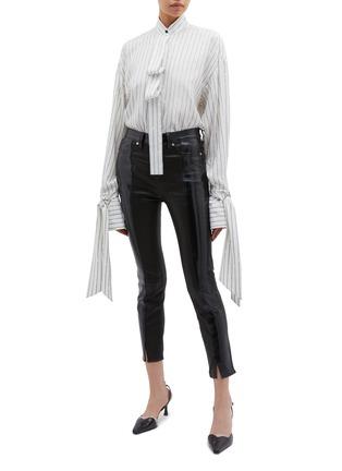 Figure View - Click To Enlarge - PETAR PETROV - 'Beth' tie drape cuff slogan stripe silk blouse
