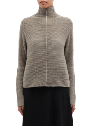 Main View - Click To Enlarge - PETAR PETROV - 'Kinga' contrast seam cashmere rib knit turtleneck sweater