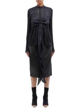 Main View - Click To Enlarge - PETAR PETROV - 'Beryl' bow drape front leopard burnout blouse