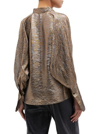 Back View - Click To Enlarge - PETAR PETROV - 'Brook' blouson sleeve metallic pussybow blouse
