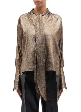 Main View - Click To Enlarge - PETAR PETROV - 'Brook' blouson sleeve metallic pussybow blouse