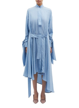 Main View - Click To Enlarge - PETAR PETROV - 'Dazey' drape cuff belted slogan stripe silk dress