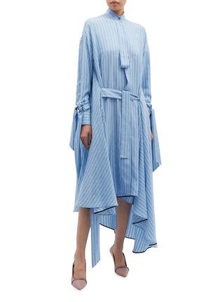 Figure View - Click To Enlarge - PETAR PETROV - 'Dazey' drape cuff belted slogan stripe silk dress