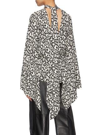 Back View - Click To Enlarge - PETAR PETROV - 'Belva' sash tie neck leopard print keyhole silk top
