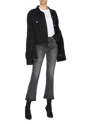 Figure View - Click To Enlarge - ROKH - Layered flared extra long sleeve denim jacket