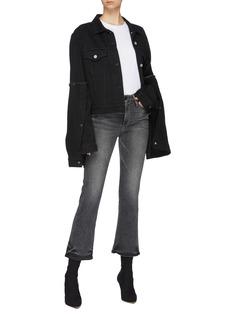rokh Layered flared extra long sleeve denim jacket