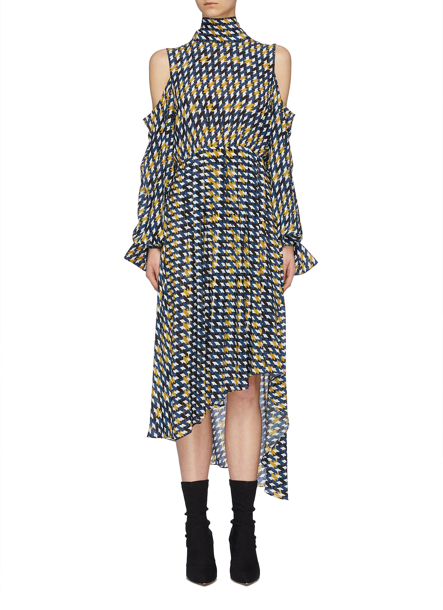 67004147cc Main View - Click To Enlarge - rokh - Tie open back graphic print cold  shoulder