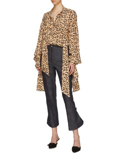 rokh Button flared back cuff cropped jeans