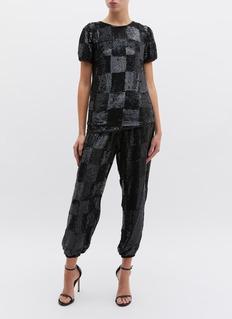 Retrofête 'Stacia' checkerboard sequin jogging pants