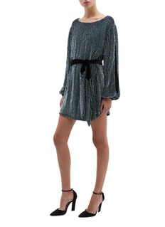 Retrofête 'Selma' split sleeve belted stripe sequin dress