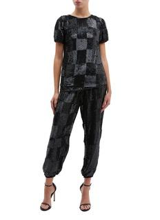 Retrofête 'Anita' puff sleeve checkerboard sequin top