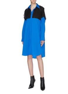 Maison Margiela Drawcord cutout back colourblock yoke oversized shirt dress