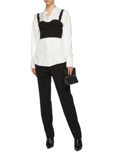 Maison Margiela Buckle strap cropped virgin wool-silk corset top