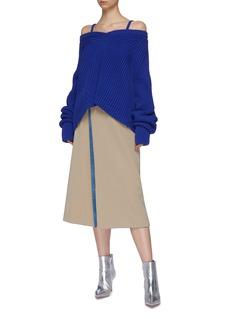 Maison Margiela Buckled check plaid panel mock wrap skirt