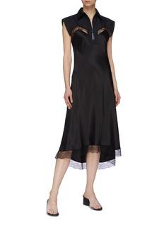 Maison Margiela Chantilly lace trim silk satin half-zip slip dress