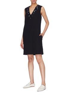 VICTORIA, VICTORIA BECKHAM Embellished crepe V-neck shift dress