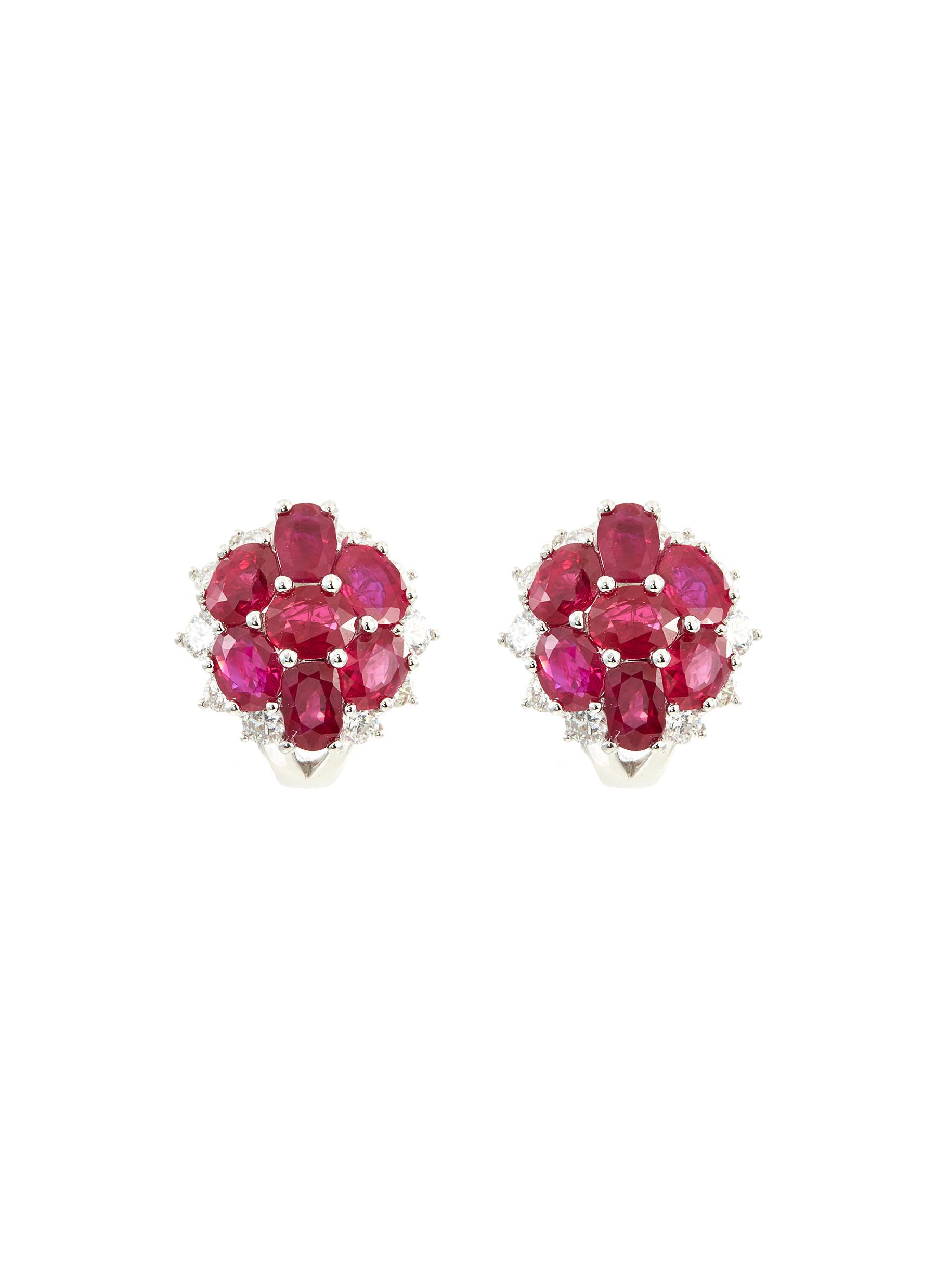Diamond ruby 18k white gold stud earrings