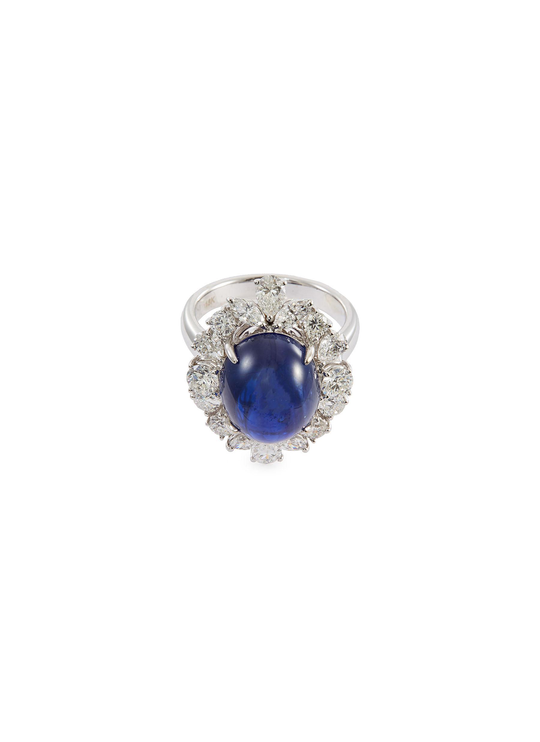 Diamond sapphire 18k white gold scalloped ring