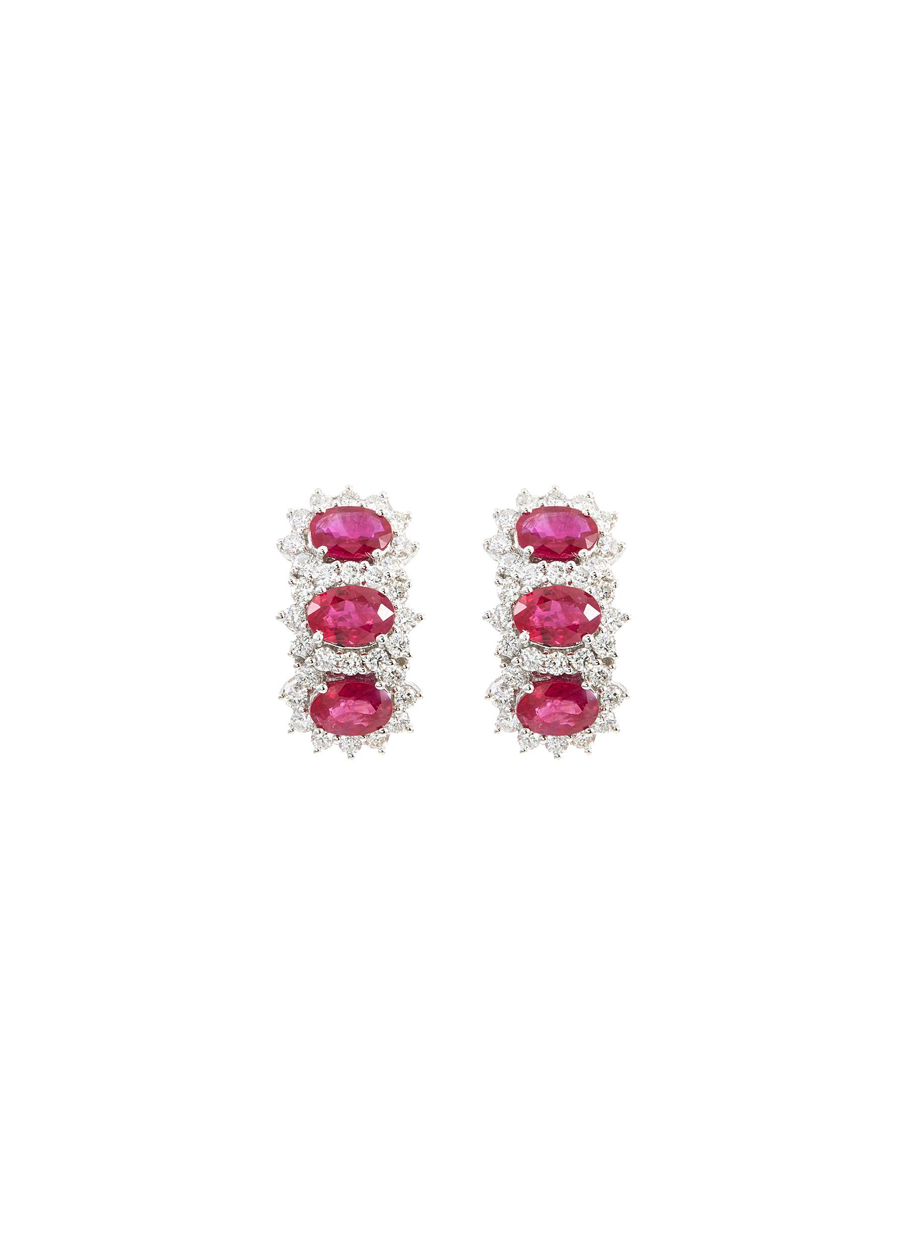 Diamond ruby 18k white gold hoop earrings