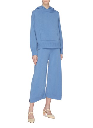 Figure View - Click To Enlarge - ROSETTA GETTY - Oversized wool-cashmere knit cropped hoodie