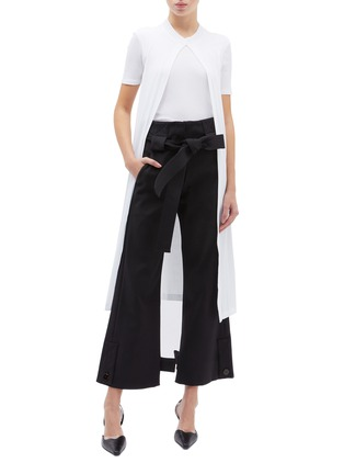 Figure View - Click To Enlarge - ROSETTA GETTY - T-shirt panel split front drape top