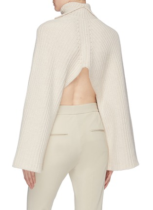 Back View - Click To Enlarge - ROSETTA GETTY - Open back wool-cashmere rib knit turtleneck sweater