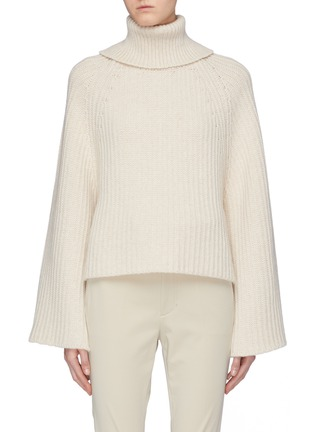 Main View - Click To Enlarge - ROSETTA GETTY - Open back wool-cashmere rib knit turtleneck sweater