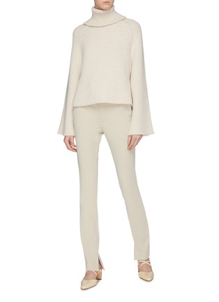Figure View - Click To Enlarge - ROSETTA GETTY - Open back wool-cashmere rib knit turtleneck sweater