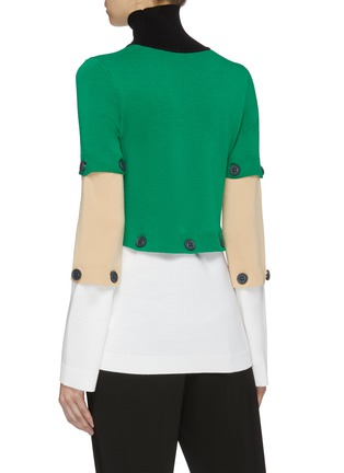Back View - Click To Enlarge - ROSETTA GETTY - Detachable colourblock panel turtleneck sweater