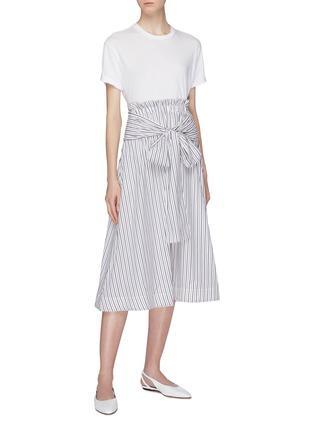 Figure View - Click To Enlarge - ROSETTA GETTY - Sash tie waist stripe poplin skirt