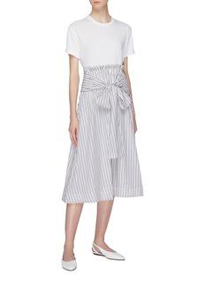Rosetta Getty Sash tie waist stripe poplin skirt