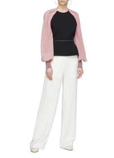 Roksanda 'Alana' pleated blouson sleeve colourblock crepe peplum top