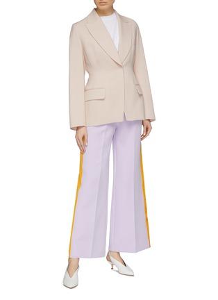 Figure View - Click To Enlarge - ROKSANDA - 'Roma' stripe outseam bonded crepe wide leg pants