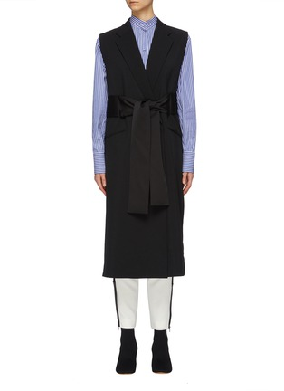 Main View - Click To Enlarge - THE KEIJI - Belted lattice back long gilet