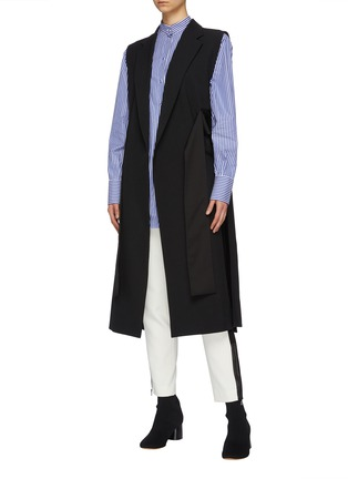 Figure View - Click To Enlarge - THE KEIJI - Belted lattice back long gilet