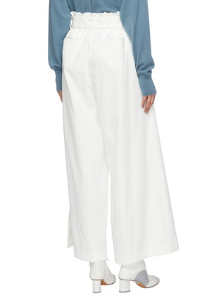 Back View - Click To Enlarge - THE KEIJI - Belted slant button wide leg pants