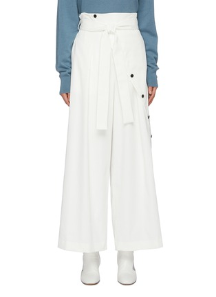 Main View - Click To Enlarge - THE KEIJI - Belted slant button wide leg pants