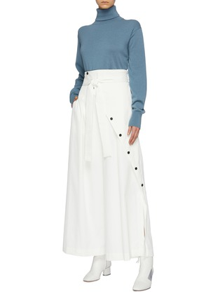 Figure View - Click To Enlarge - THE KEIJI - Belted slant button wide leg pants