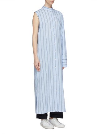 Detail View - Click To Enlarge - THE KEIJI - Detachable panel belted stripe shirt dress