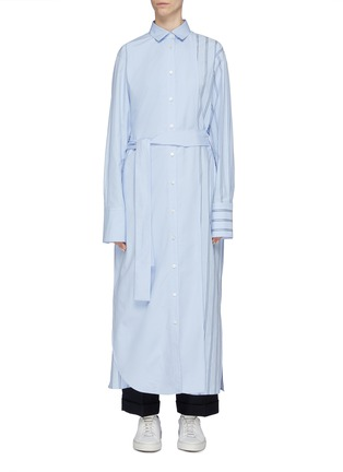 Main View - Click To Enlarge - THE KEIJI - Detachable panel belted stripe shirt dress